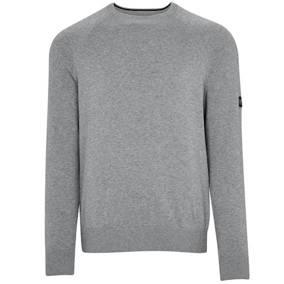 B.Intl Cotton Crew Neck Sweater, Anthracite Marl - Herr