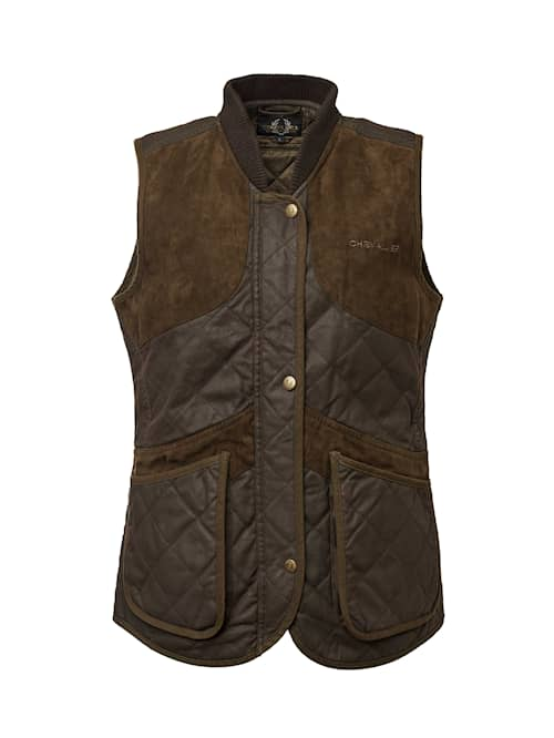 Chevalier Vintage Shooting Vest Leather Brown naiset