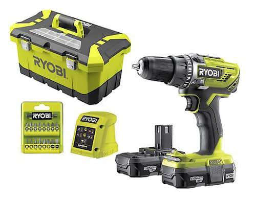 Ryobi R18DD3-213T Borrskruvdragare inkl. 2 x 1,3Ah batteri i förvaringsväska